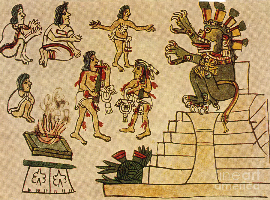 Aztec Priests Appease Mictlantecuhtli Photograph