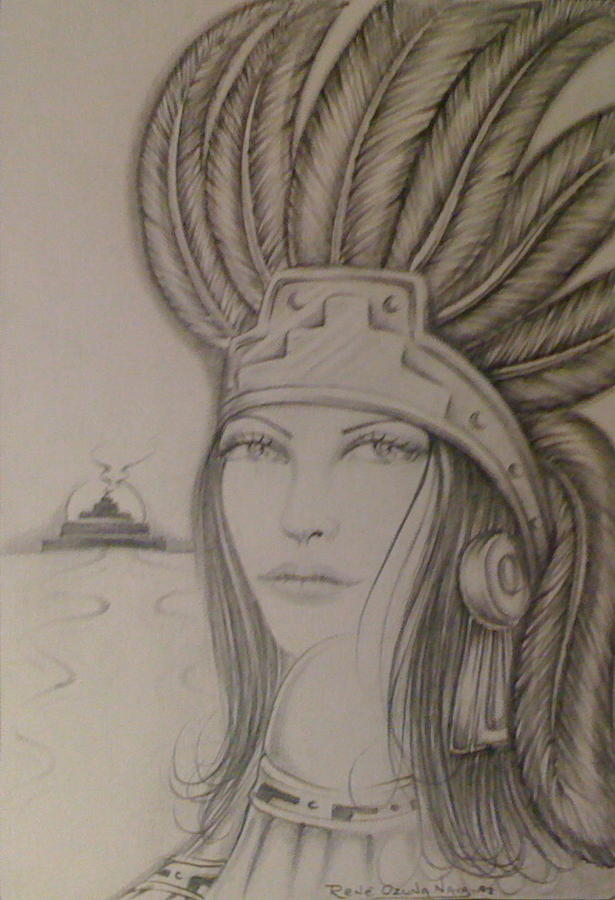 Aztec Princess Drawing  - Aztec Princess Fine Art Print