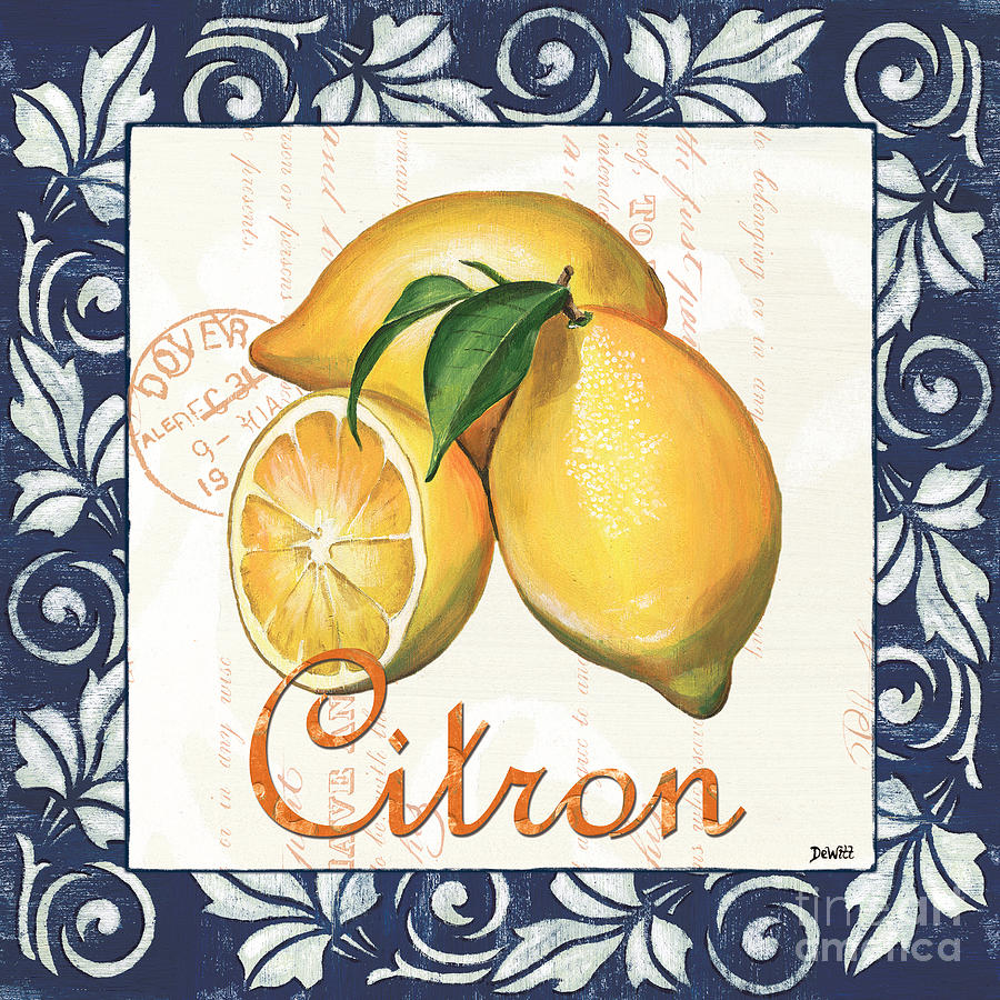 Azure Lemon 2 Painting  - Azure Lemon 2 Fine Art Print