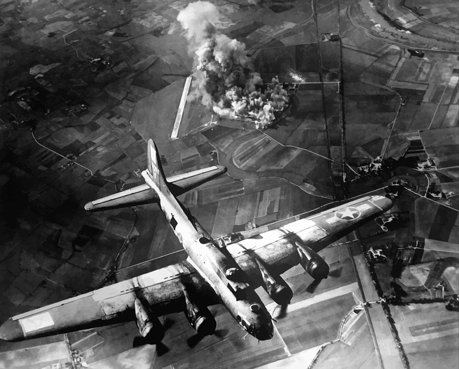 B-17 Bomber Over Germany  Photograph