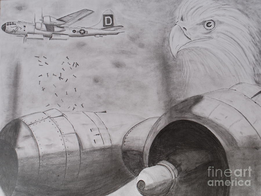 B-29 Bombing Run Over Europe Drawing  - B-29 Bombing Run Over Europe Fine Art Print