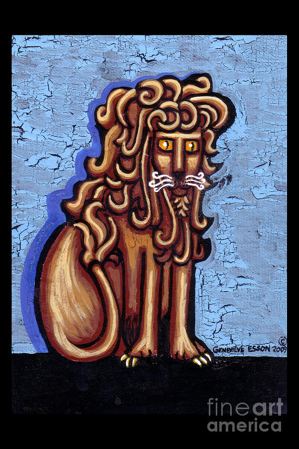 Baby Blue Byzantine Lion Painting