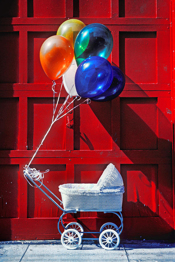 Baby Buggy With Balloons  Photograph  - Baby Buggy With Balloons  Fine Art Print