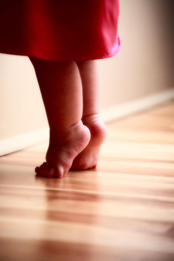 baby feet stretching on wooden floor digital art by mark duffy. Black Bedroom Furniture Sets. Home Design Ideas