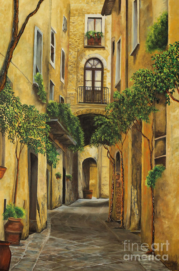 Back Street In Italy Painting  - Back Street In Italy Fine Art Print