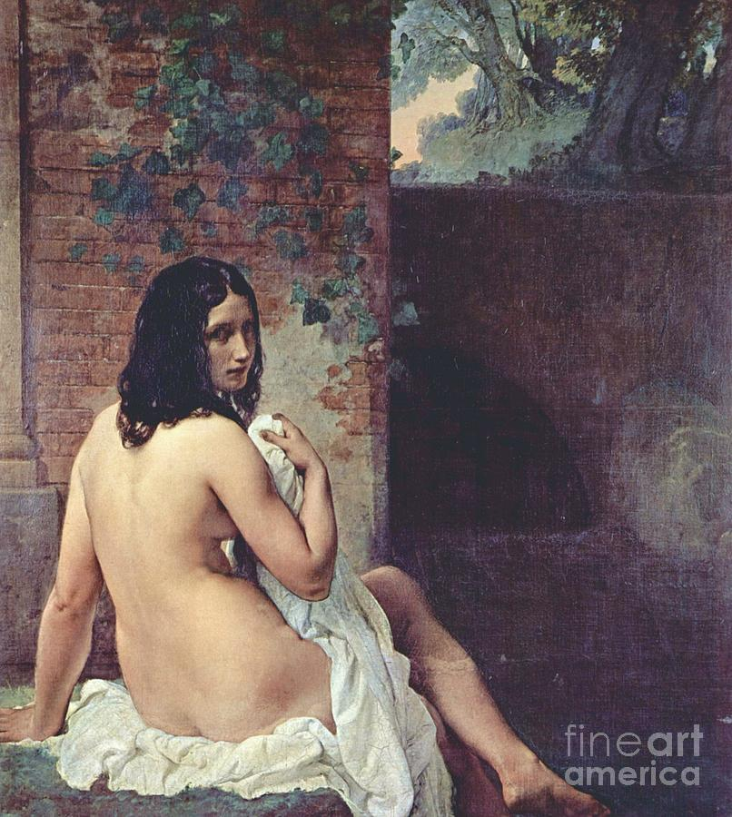 Back View Of A Bather Painting  - Back View Of A Bather Fine Art Print