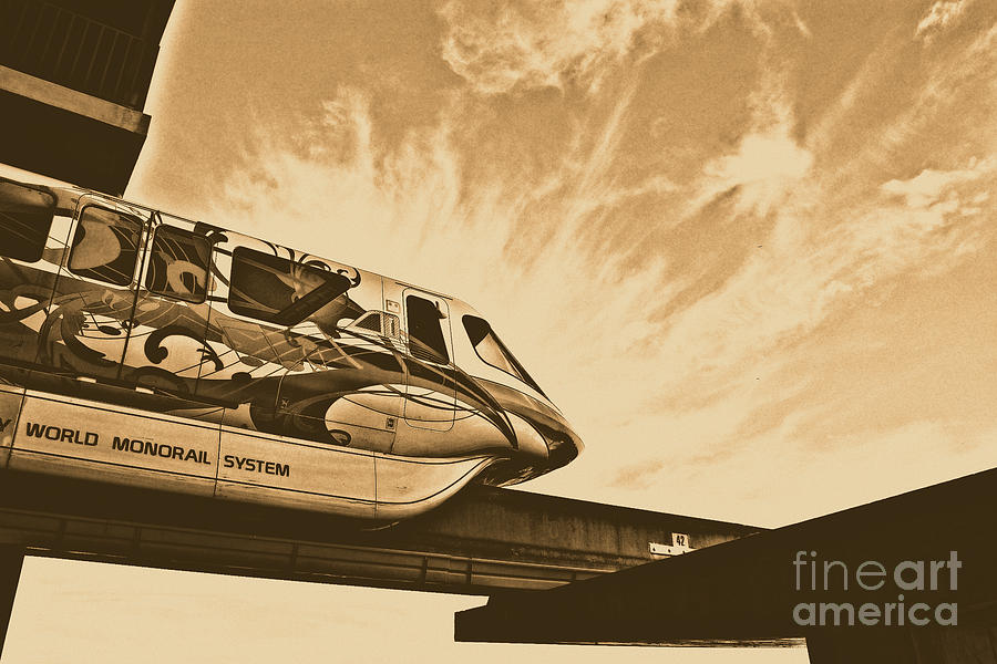 Backlit Disney World Monorail Leaving Contemporary Resort Walt Disney World Prints Rustic Digital Art