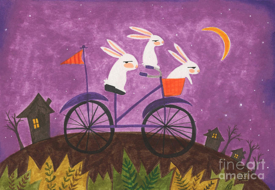 Bad Bunnies Steal Bikes At Night Painting