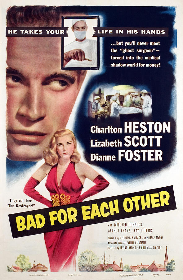 1950s Poster Art Photograph - Bad For Each Other, Charlton Heston by Everett