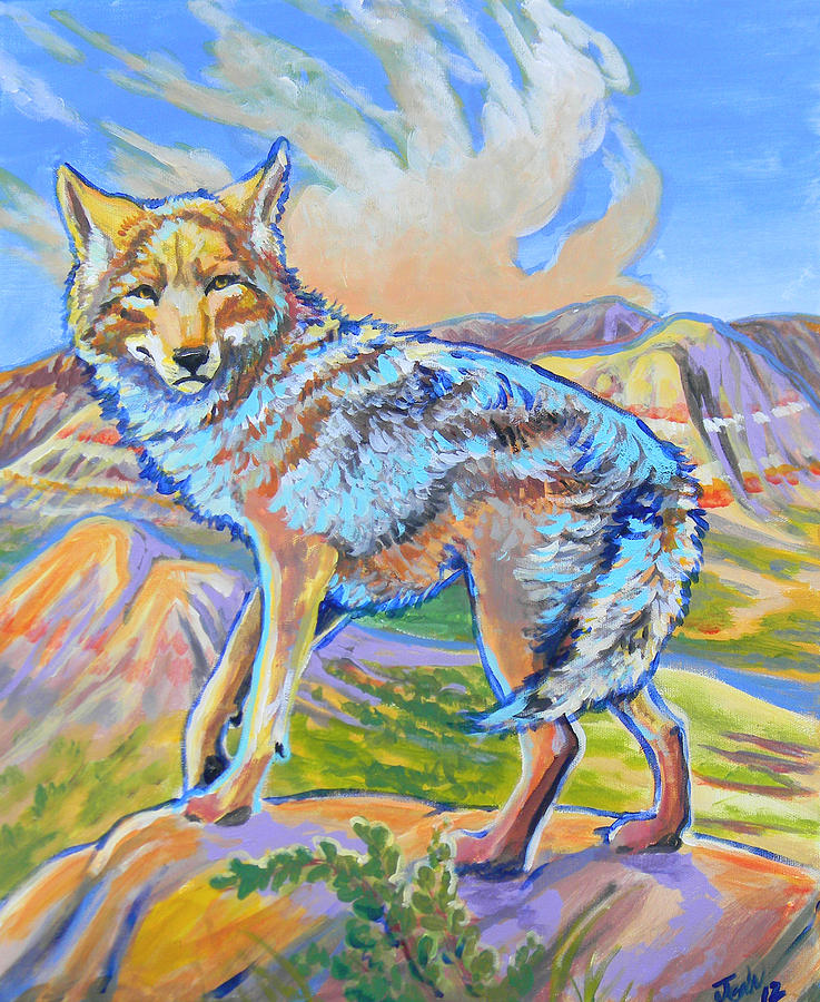 Badland Coyote Painting  - Badland Coyote Fine Art Print
