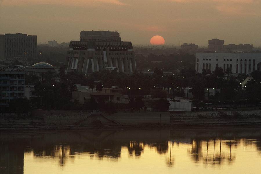 Baghdad And The Tigris River At Sunset Photograph