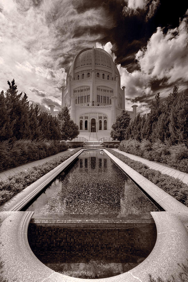 Bahai Temple Reflecting Pool Photograph