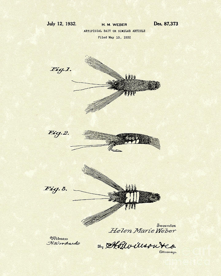 Weber Drawing - Bait 1932 Patent Art by Prior Art Design