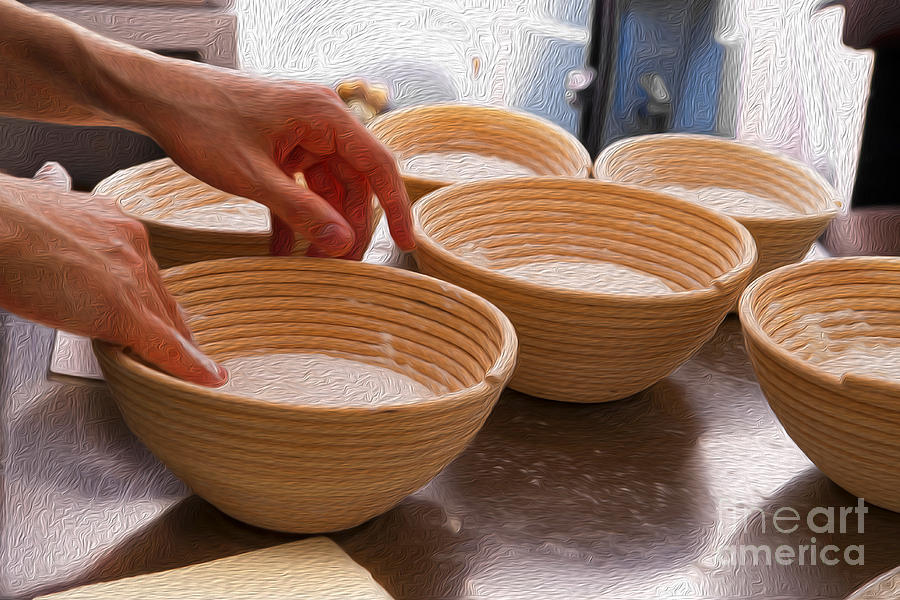 Baker Hands And Wooden Bowls Photograph  - Baker Hands And Wooden Bowls Fine Art Print