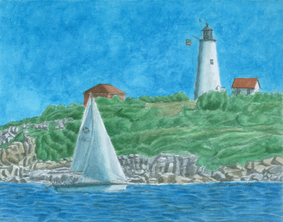 Bakers Island Lighthouse Painting  - Bakers Island Lighthouse Fine Art Print