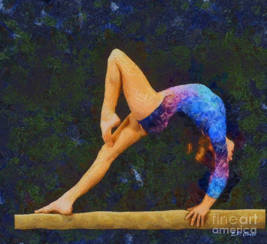 Oil Painting Gymnastics Gymnast Gymnasts Sports Gymnastic Balance Beam  Painting - Balance Beam by Elizabeth Coats