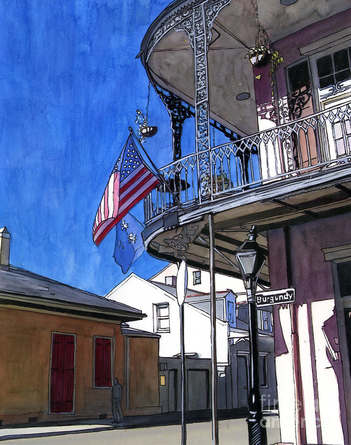 New Orleans Painting - Balcony With American Flag by John Boles