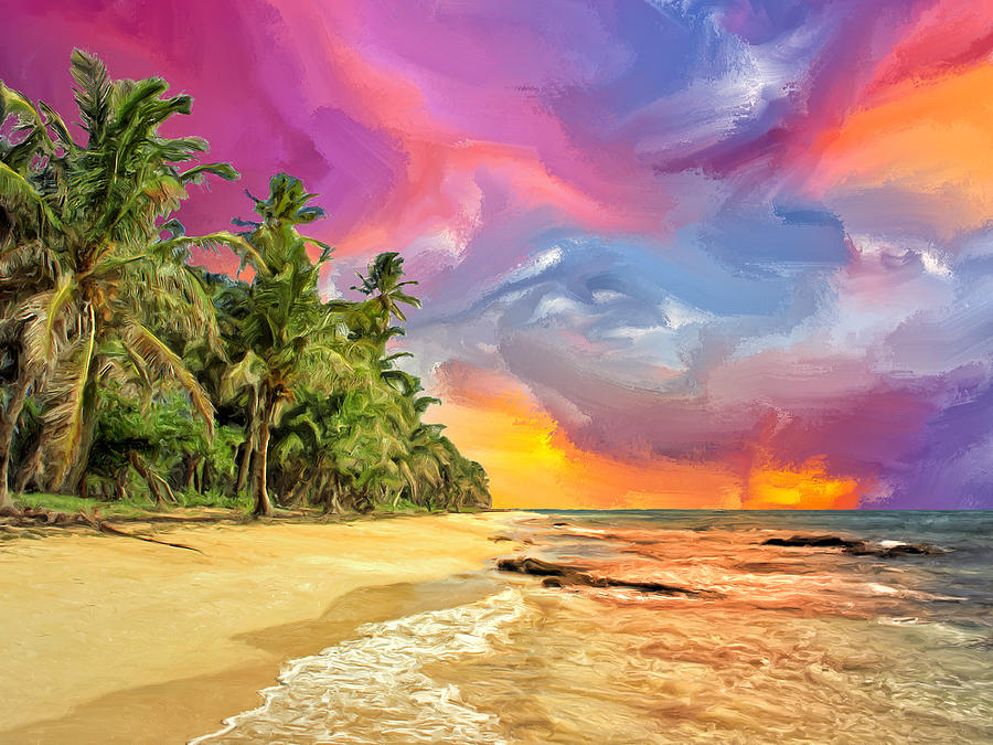 Bali Beach Sunset Painting by Dominic Piperata