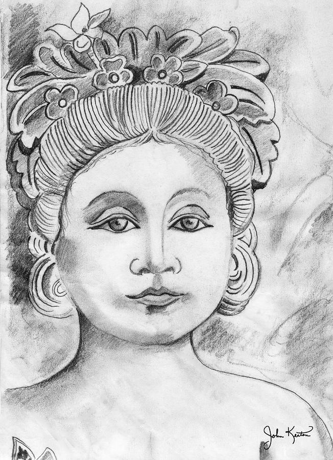 Balinese Princess Drawing  - Balinese Princess Fine Art Print