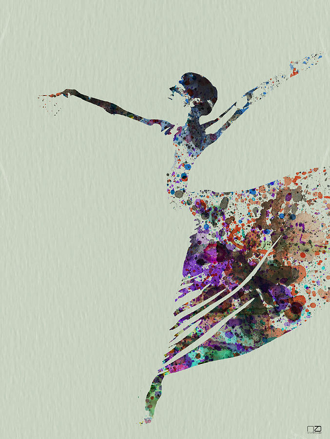 Ballerina Dancing Watercolor Painting  - Ballerina Dancing Watercolor Fine Art Print