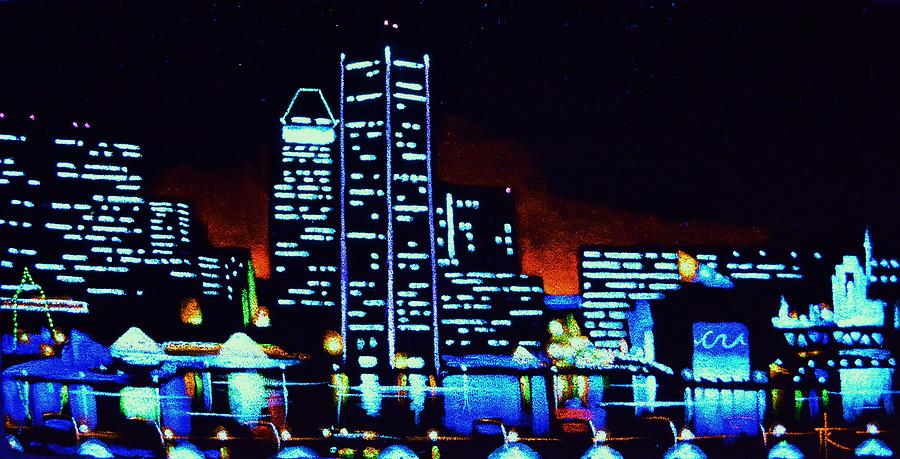 Baltimore By Black Light Painting  - Baltimore By Black Light Fine Art Print