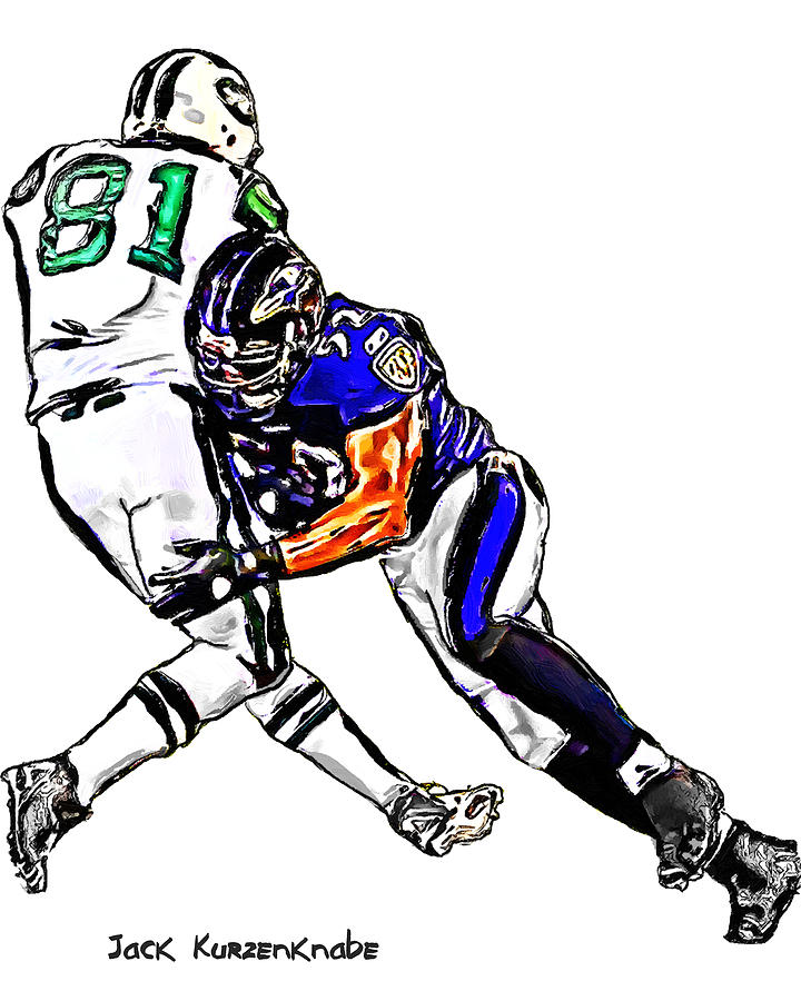 Baltimore Ravens  Ray Lewis - New York Jets Dustin Keller Digital Art  - Baltimore Ravens  Ray Lewis - New York Jets Dustin Keller Fine Art Print