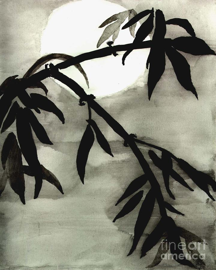 Bamboo In Moonlight - Watercolor Painting Photograph