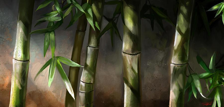 Bamboo Art Mixed Media - Bamboo Stalks by Steve Goad