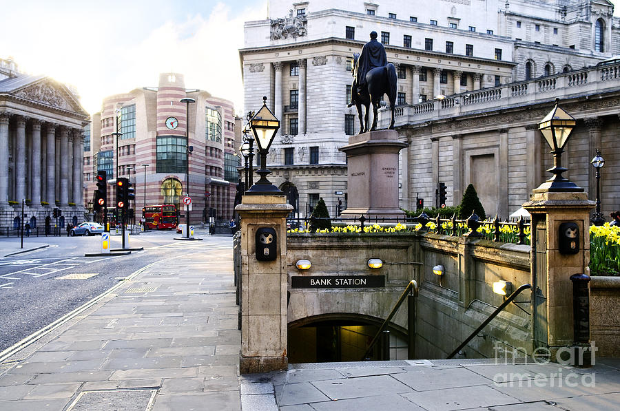 Bank Station Entrance In London Photograph