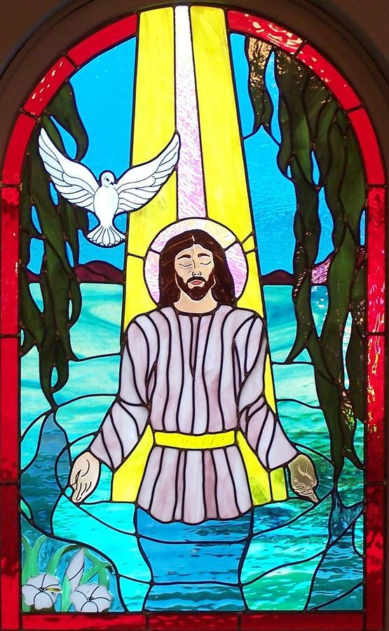 Baptisim Of Jesus Christ Glass Art