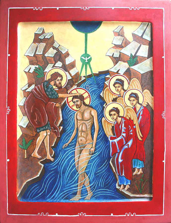Baptism Of Christ             Theophany Painting  - Baptism Of Christ             Theophany Fine Art Print