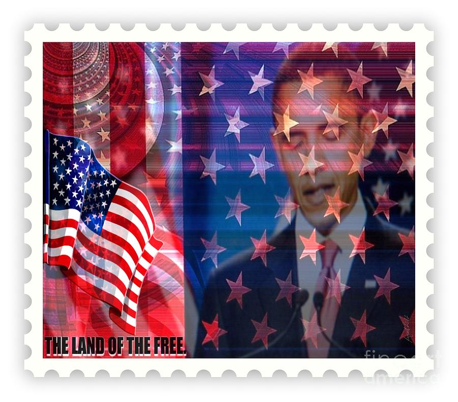 Fania Simon Mixed Media - Barack A Stamp by Fania Simon