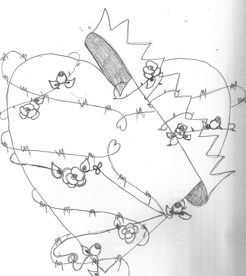 barbed wire heart drawing-#19