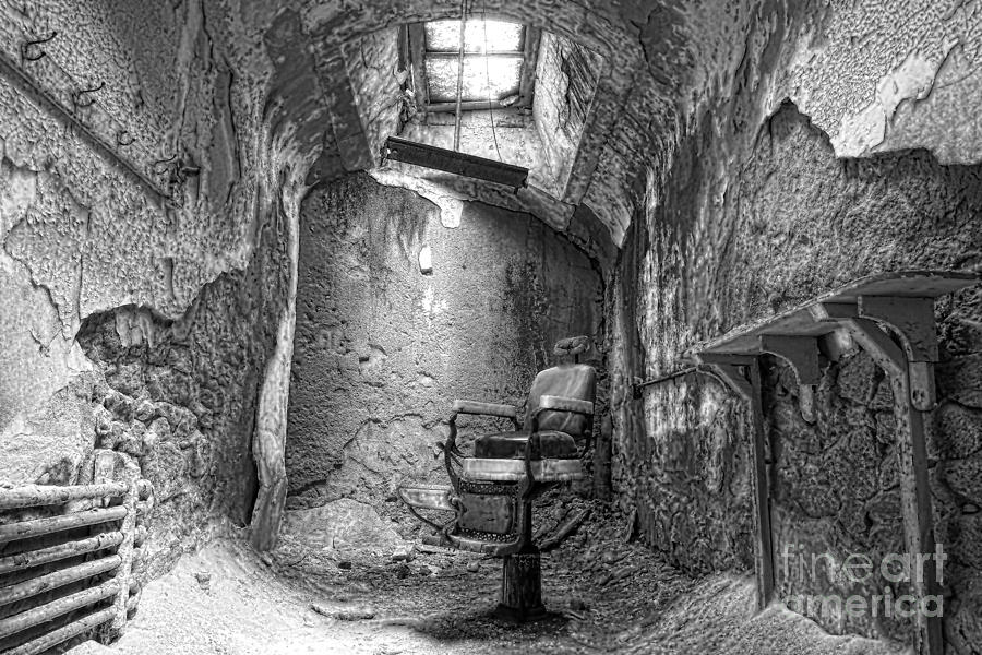 Barber - Chair - Eastern State Penitentiary - Black And White Photograph