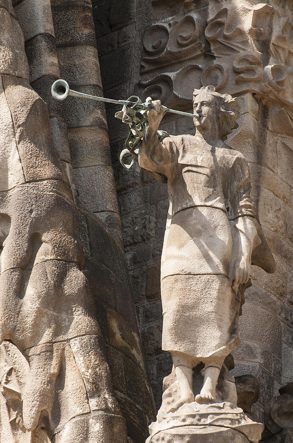 Barcelona Church Sagrada Familia Nativity Facade Detail Photograph