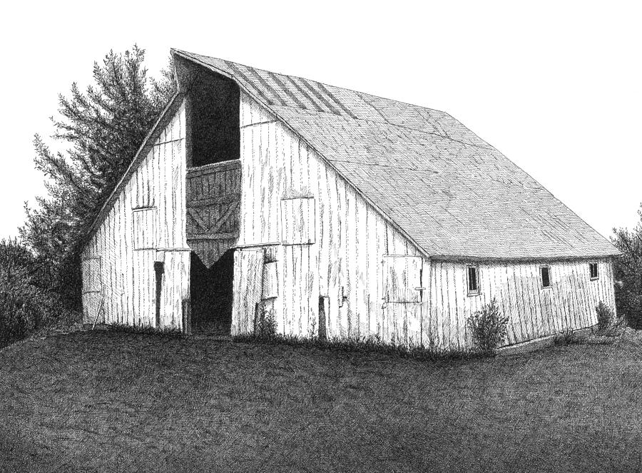 Barn 16 Drawing  - Barn 16 Fine Art Print
