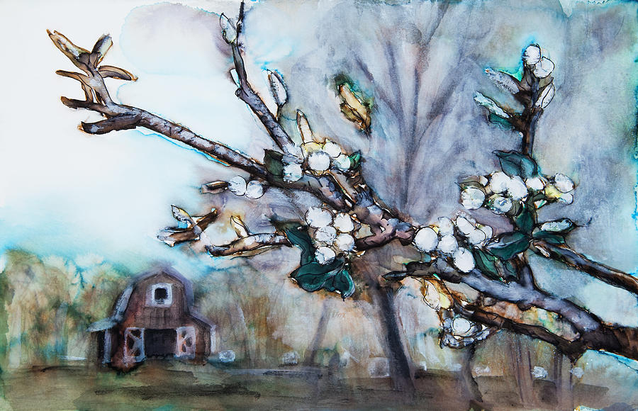 Barn And Blossoms Painting  - Barn And Blossoms Fine Art Print