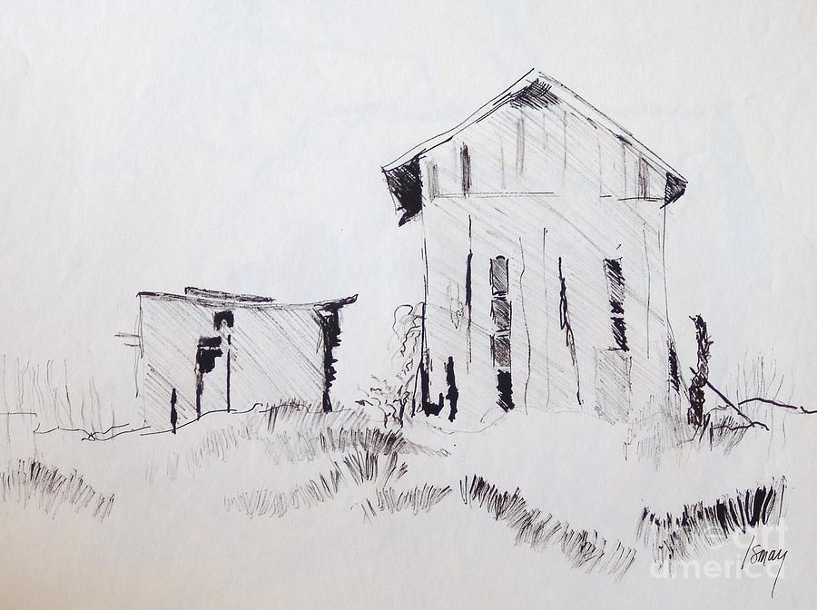 Barn And Shed Drawing  - Barn And Shed Fine Art Print