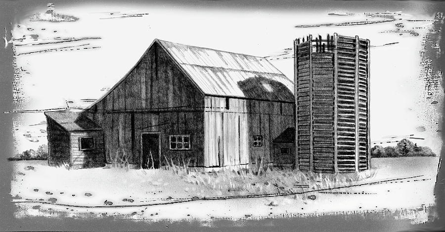 Barn And Silo Distressed Version Drawing  - Barn And Silo Distressed Version Fine Art Print