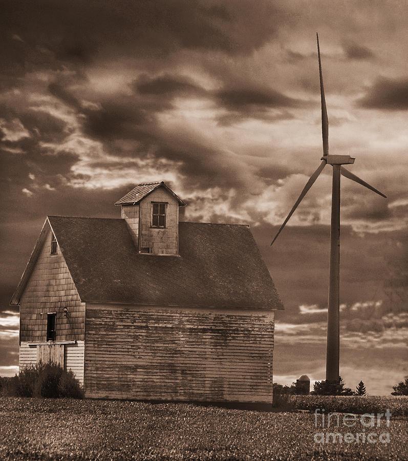 Barn Photograph - Barn And Windmill by Jim Wright