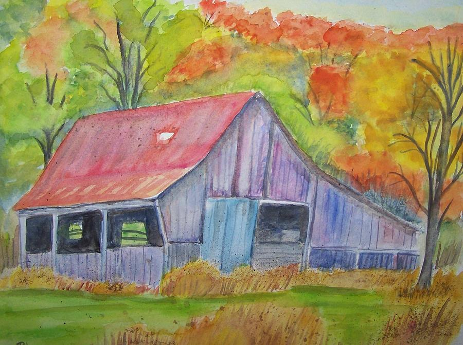 Landescape Painting - Barn At Round Bottom by Belinda Lawson