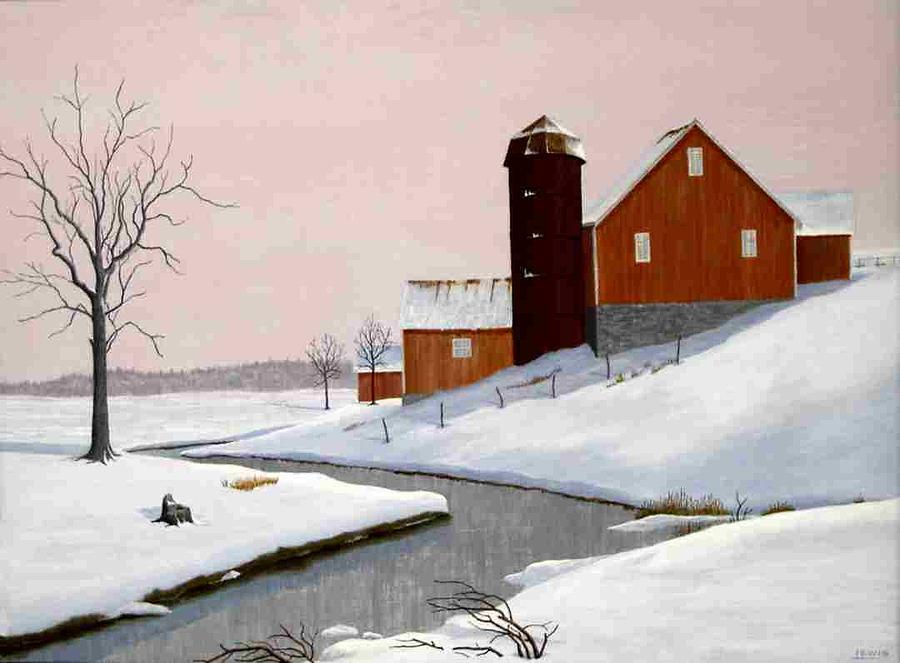 Barn By The Stream Painting