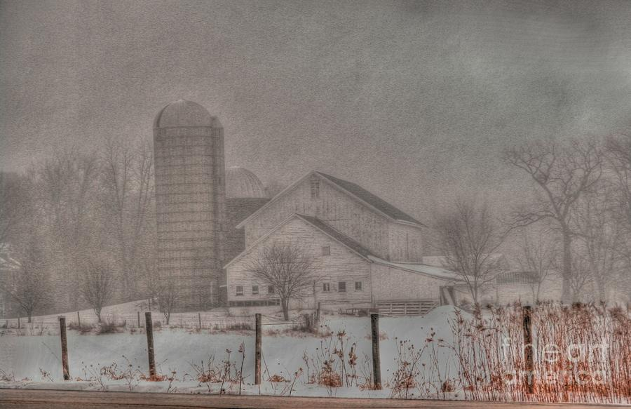 Barn In Fog Photograph