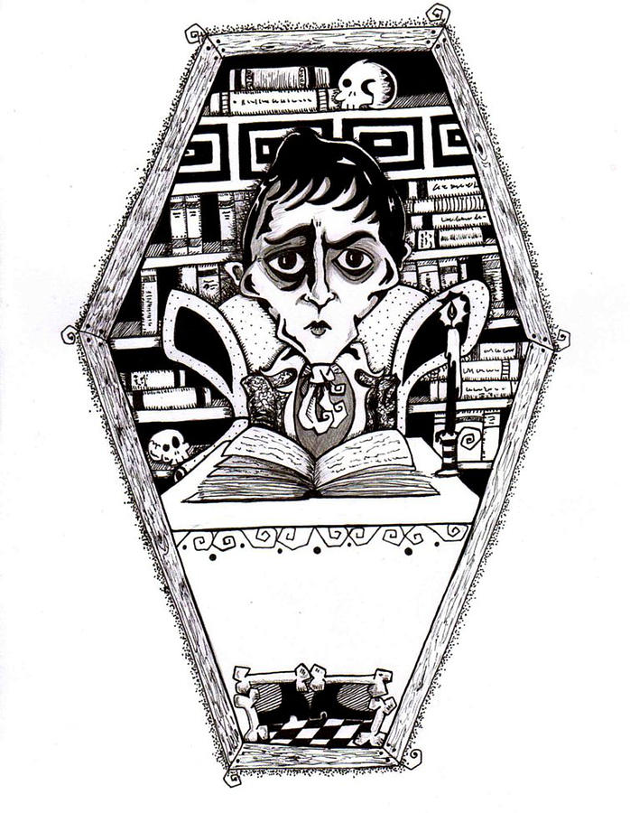 Barnabas In The Library Drawing  - Barnabas In The Library Fine Art Print