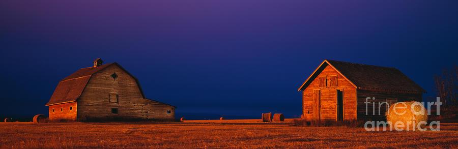 Barns At Night Photograph