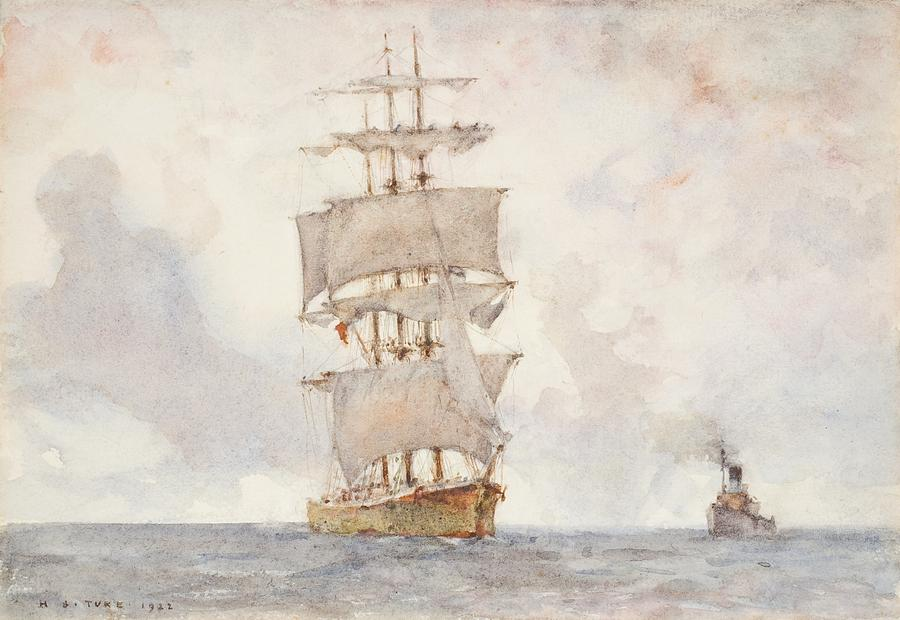 Sailing Boat; Ship; Sails; Square Rigger; Newlyn School Painting - Barque And Tug by Henry Scott Tuke