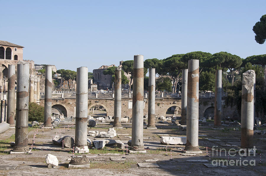 Base Of Trajans Column And The Basilica Ulpia. Rome Photograph  - Base Of Trajans Column And The Basilica Ulpia. Rome Fine Art Print