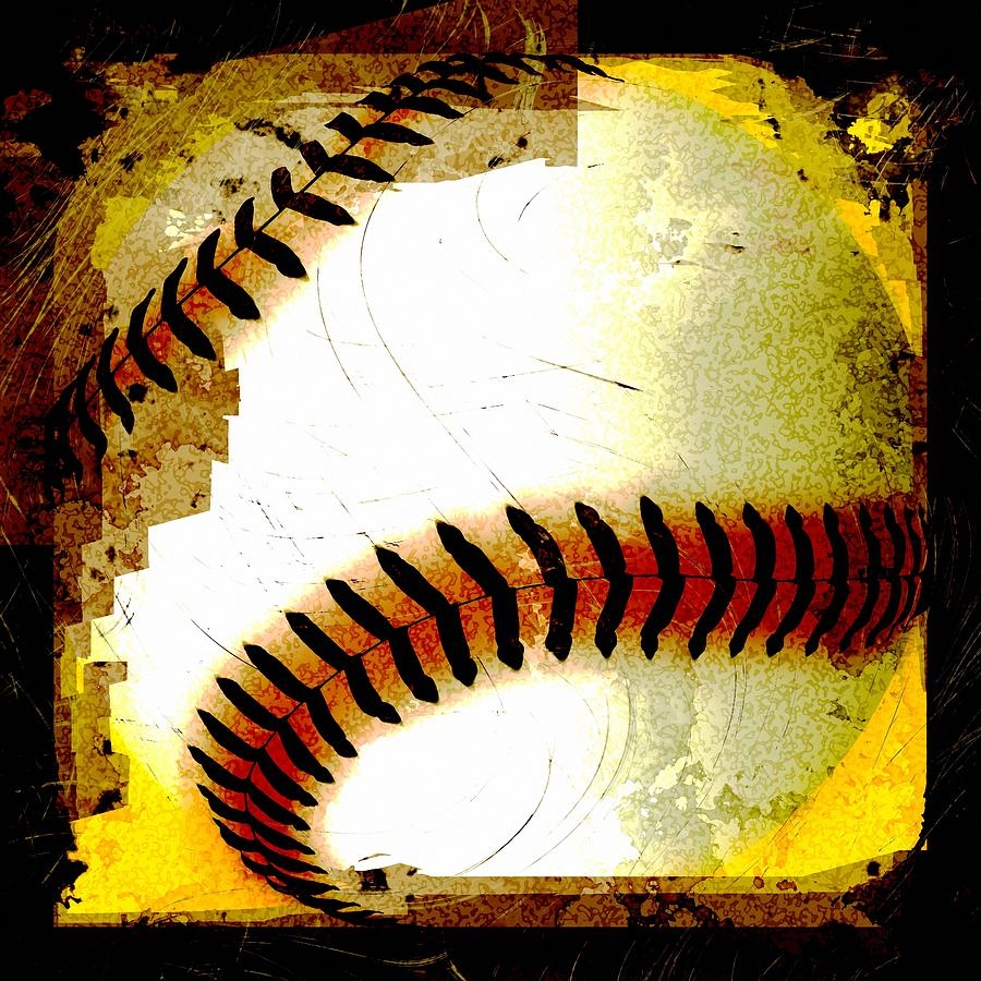 Baseball Abstract Digital Art  - Baseball Abstract Fine Art Print