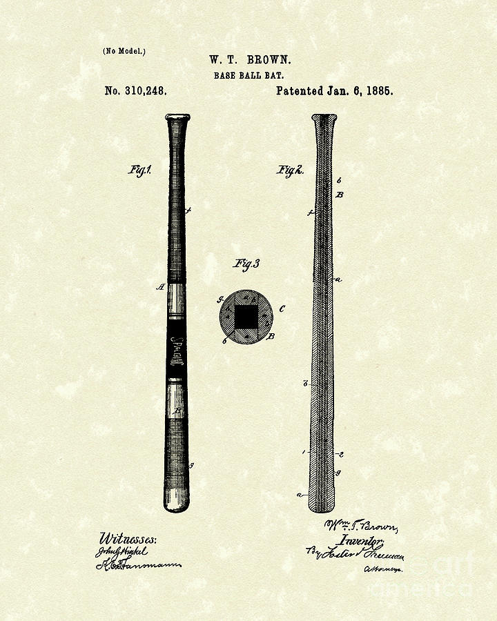 Baseball Bat 1885 Patent Art Drawing