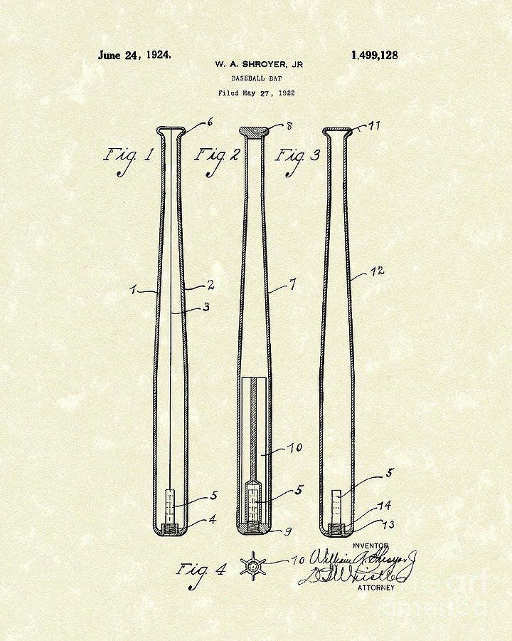 Baseball Bat 1924 Patent Art Drawing